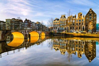 Canvastavlor Solig morgon i Amsterdam, Nederländerna