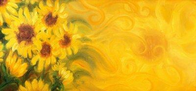 Canvastavlor Soliga solrosor med sol och prydnadsföremål. Oljemålning på duk.