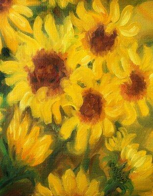 Canvastavlor Soliga solrosor oljemålning på duk.