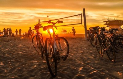 Canvastavlor solnedgång beachvolley at Venice Beach