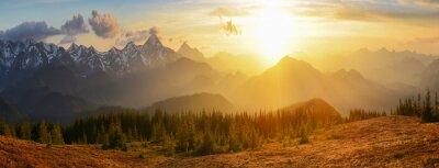 Canvastavlor solnedgång bergen
