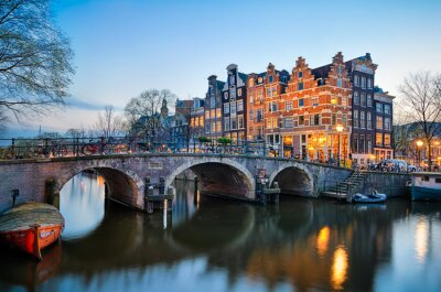 Canvastavlor Solnedgång i Amsterdam, Nederländerna