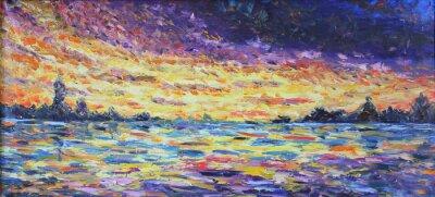 Canvastavlor solnedgången över sjön, oljemålning