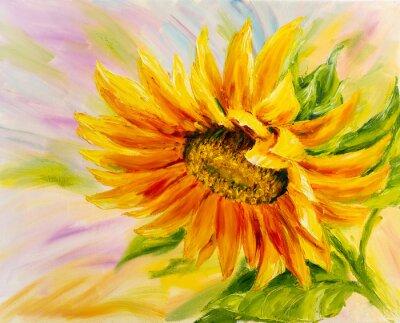 Canvastavlor Solros, oljemålning på duk
