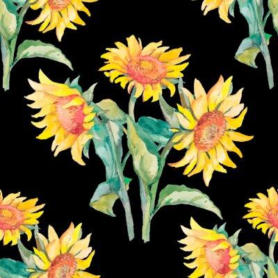 Canvastavlor Solrosor mönster vattenfärg.
