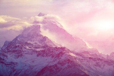 Canvastavlor soluppgång i bergen