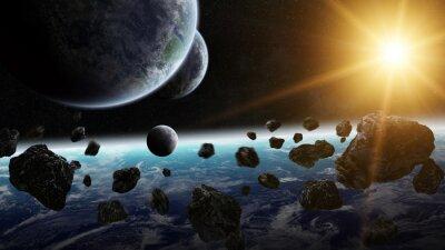 Canvastavlor Soluppgång över grupp planeter i rymden