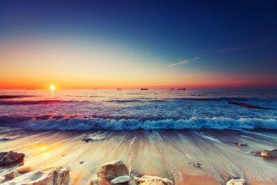 Canvastavlor Soluppgång över havet