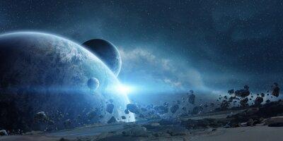 Canvastavlor Soluppgång över jorden i rymden
