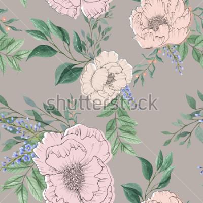 Canvastavlor sömlös akvarell bakgrund blanda färgstark blommig blomma och löv med linjekonst som används för bakgrundsstruktur, inslagspapper, textil- eller tapetdesign
