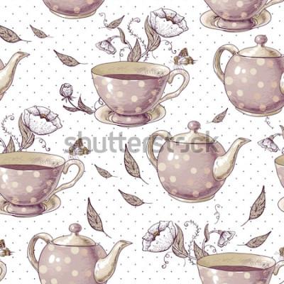 Canvastavlor Sömlös bakgrund med koppar te, krukor och blommor i vintagestil.