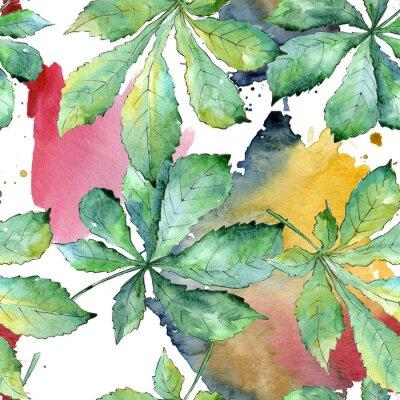 Canvastavlor Sömlös bakgrundsmönster. Aquarelle blad för bakgrund, textur, omslagsmönster, ram eller kant.