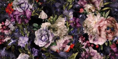 Canvastavlor Sömlös blommönster med blommor, akvarell