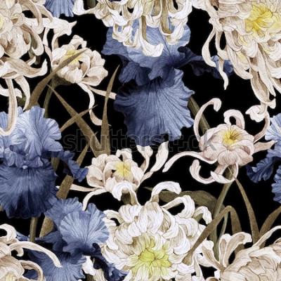 Canvastavlor Sömlös blommönster med krysantemum och iris, akvarell