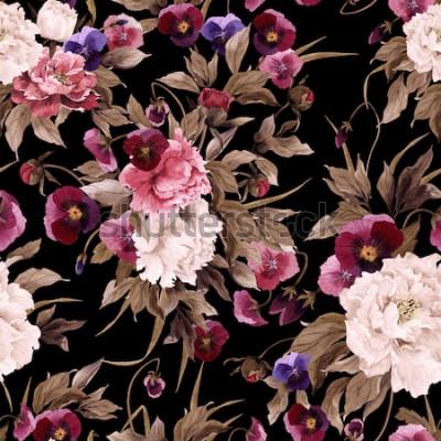 Canvastavlor Sömlös blommönster med pioner och pensé, akvarell