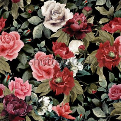 Canvastavlor Sömlös blommönster med rosa rosor och pioner på mörk bakgrund, akvarell