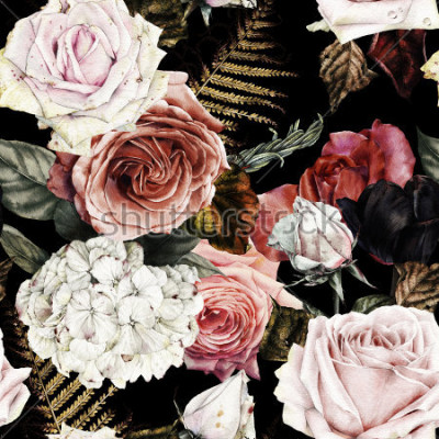 Canvastavlor Sömlös blommönster med rosor, akvarell.