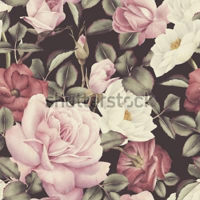 Canvastavlor Sömlös blommönster med rosor, akvarell
