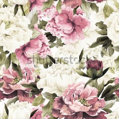 Canvastavlor Sömlös blommönster med rosor på vit bakgrund, akvarell.