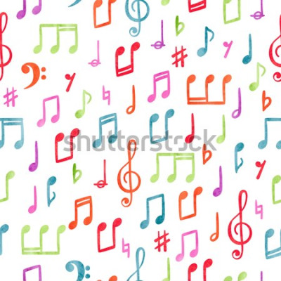 Canvastavlor Sömlös färgrik musik noterar mönster. Musikalisk akvarellbakgrund