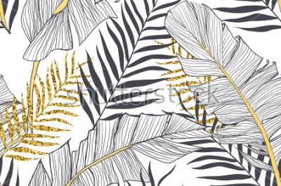 Canvastavlor Sömlös mönster med banan och gyllene palmblad i vektor