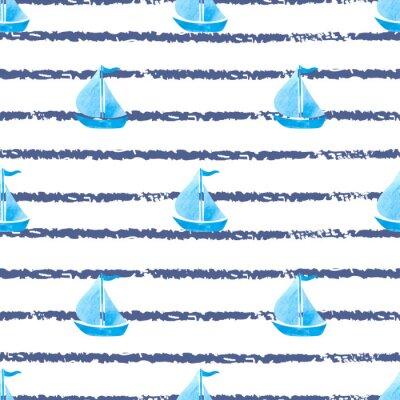 Canvastavlor Sömlös randig marin bakgrund med blå fartyg. Vektor hav bakgrund med båtar.