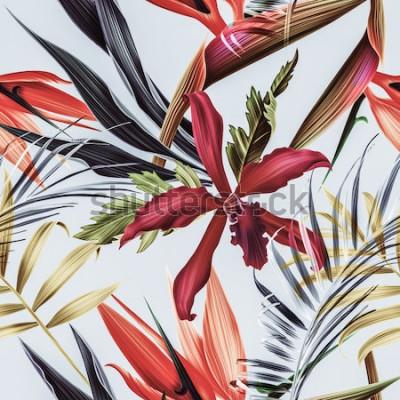 Canvastavlor Sömlös tropisk blomma-, växt- och bladmönsterbakgrund