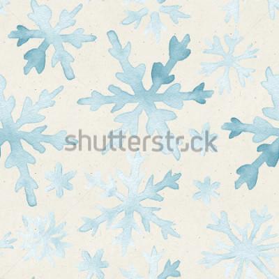 Canvastavlor Sömlös vattenfärgmönster på pappersstruktur. Jul bakgrund.