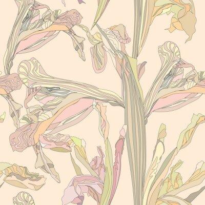 Canvastavlor sömlösa vektor bakgrund mjuka blommor iris på beige bakgrund