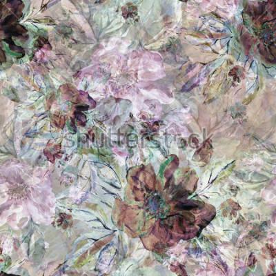 Canvastavlor Sömlöst mönster. Akvarell illustration av en vårgräns vilda rosor - EEG