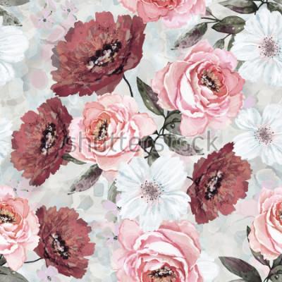 Canvastavlor Sömlöst mönster med blommor och löv. Blom bakgrund för Bakgrund, papper och tyg. Akvarellmålning med rosa och Burgundy rosor.
