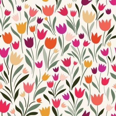 Canvastavlor Sömlöst mönster med handritade tulpaner