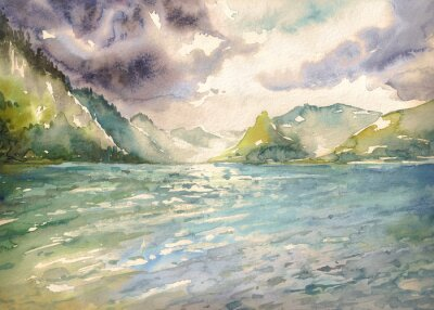 Canvastavlor Sommar landskap med fjällsjö målade med vattenfärger