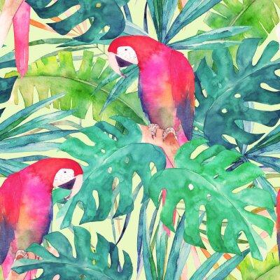Canvastavlor Sommar sömlöst mönster med akvarell papegoja, palmblad. Färgrik illustration