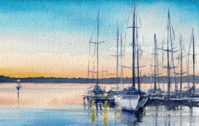 Canvastavlor Sommarlandskap med segelbåtar i viken.