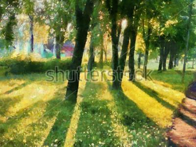 Canvastavlor Sommarlandskap. Trädarna i parken, en skugga på gräset. Vattenfärg. För tryckning på keramik och tyg.