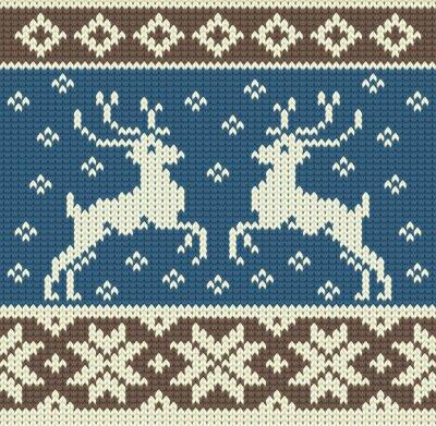 Canvastavlor Söt stickning bakgrund med två renar och snöflingor
