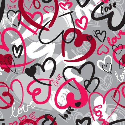 Canvastavlor Söt valentin sömlösa mönster med hjärtan