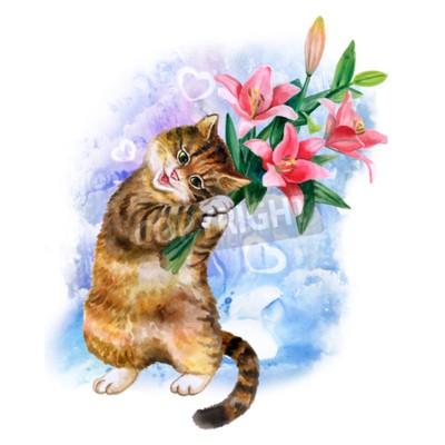 Canvastavlor Söt vattenfärg kort med katten och blommor isolerade på blå bakgrund med hjärtan. Härlig kattunge med liljor. Idealisk för Valentin dag, födelsedag, gifta sig inbjudan affisch. Beatiful fjäder bouqet.