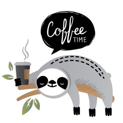 Canvastavlor Söt vektor sloth björn djur med kaffe tid bokstäver.