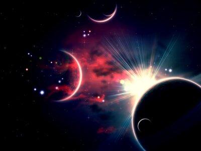 Canvastavlor Space moln och planeter