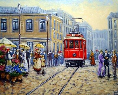 Canvastavlor Spårvagn i gamla stan, oljemålningar landskap