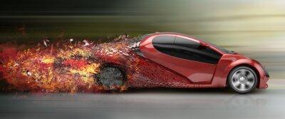 Canvastavlor speeding bil sönderfallande