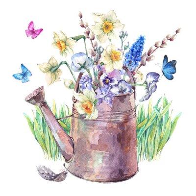 Canvastavlor Spring bukett med påskliljor, pansies, muscari och fjärilar