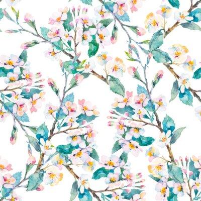 Canvastavlor Spring pattern.Flowering grenar. Vattenfärg. Vektor.