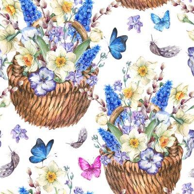 Canvastavlor Spring seamless med påskliljor i rotting