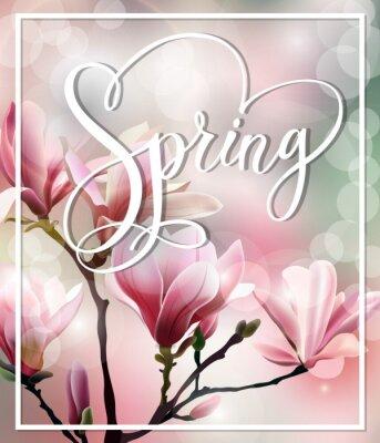 Canvastavlor Spring text med blomma brunch av Magnolia med suddiga effekt. Spring bakgrund. Mall vektor.