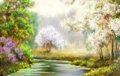 Canvastavlor Spring, träd, flod, målningar landskap