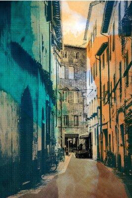 Canvastavlor staden Lucca, vykort