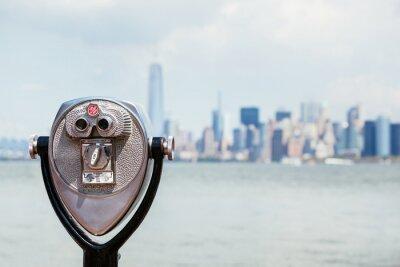 Canvastavlor Stadsbild av New York med kikare